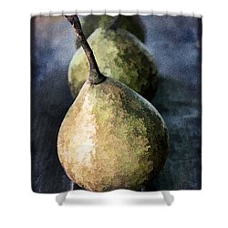 Three Pears Shower Curtain by Darren Fisher