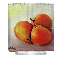 Three Pears Shower Curtain by Janet Garcia