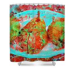 Three Pears On A Blue Plate Shower Curtain