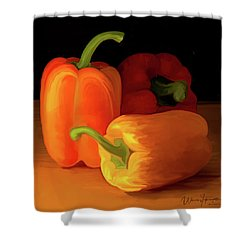 Three Peppers 01 Shower Curtain by Wally Hampton