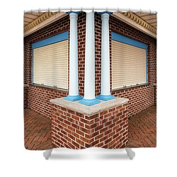 Three Pillars At The Refreshment Stand Shower Curtain by Gary Slawsky