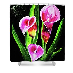 Shower Curtain featuring the painting Three Pink Calla Lilies. by Patricia L Davidson