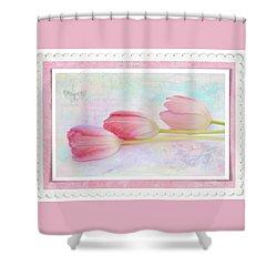 Three Pink Tulips Shower Curtain