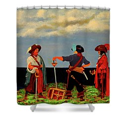Three Pirates Shower Curtain by Robert Marquiss