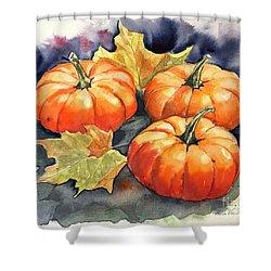 Three Pumpkins Shower Curtain