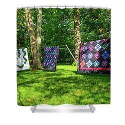 Three Quilts In The Breeze Shower Curtain