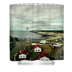 Shower Curtain featuring the photograph Three Red Roofs by Aimelle