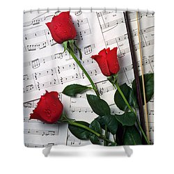 Three Red Roses  Shower Curtain by Garry Gay