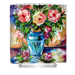 Three Roses In A Glass Vase Shower Curtain