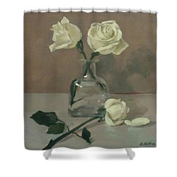 Three Roses In A Tequila Bottle Shower Curtain