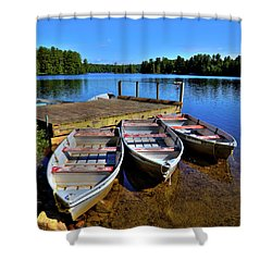 Three Rowboats Shower Curtain by David Patterson