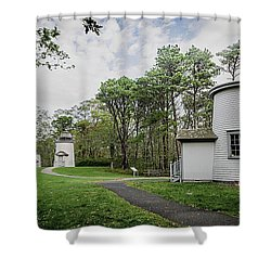 Three Sisters Lighthouses Shower Curtain