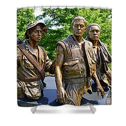 Three Soldiers Monument Shower Curtain