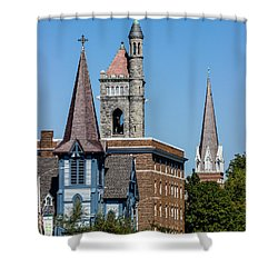 Three Steeples Of St Johnsbury Vermont Shower Curtain by Tim Kirchoff
