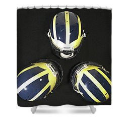 Three Striped Wolverine Helmets Shower Curtain