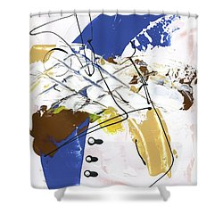 Three Color Palette Blue 3 Shower Curtain by Michal Mitak Mahgerefteh