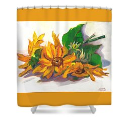 Three Sunflowers Shower Curtain