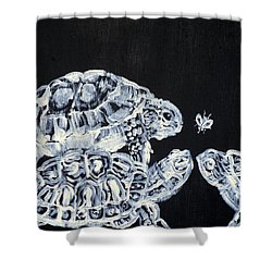 Shower Curtain featuring the painting Three  Terrapins And One Fly by Fabrizio Cassetta