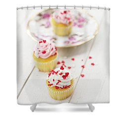 Shower Curtain featuring the photograph Three Tiny Cupcakes by Rebecca Cozart