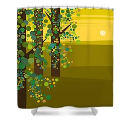 Three Trees In The Spring Shower Curtain