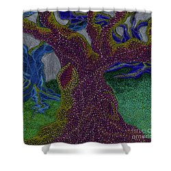 Shower Curtain featuring the drawing Three Trees by Kim Sy Ok