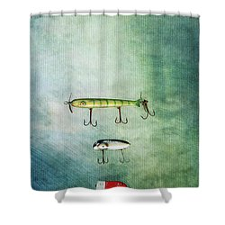 Three Vintage Fishing Lures Shower Curtain