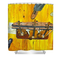 Three Violins Shower Curtain by Jock McGregor