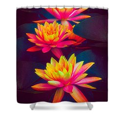 Shower Curtain featuring the photograph Three Waterlilies by Chris Lord