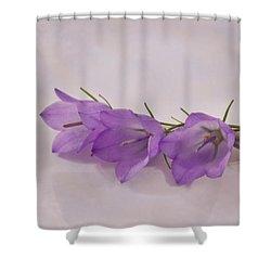 Three Wild Campanella Blossoms - Macro Shower Curtain