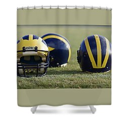 Three Wolverine Helmets Shower Curtain