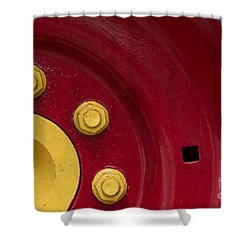 Three Yellow Nuts On A Red Wheel Shower Curtain by Wendy Wilton