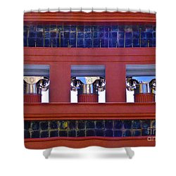 Threereflective Columns Shower Curtain