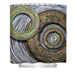 Shower Curtain featuring the painting Threes A Crowd by Jacqueline Athmann
