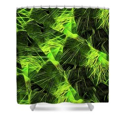 Threshed Green Shower Curtain by Ron Bissett