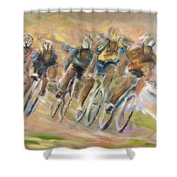 Thrill Of The Chase Shower Curtain by Jude Lobe