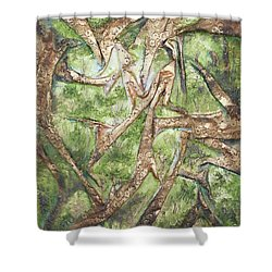 Shower Curtain featuring the mixed media Through Lacy Branches by Angela Stout