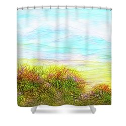 Through Mountain Mists Shower Curtain by Joel Bruce Wallach