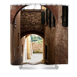 Through The Alleys Shower Curtain by Rae Tucker