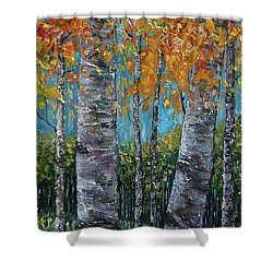 Through The Aspen Trees Diptych 1 Shower Curtain