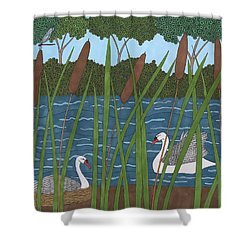 Through The Cattails Shower Curtain
