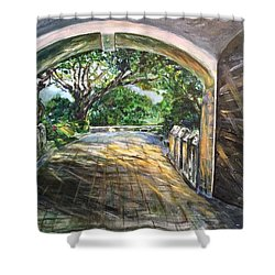 Through The Gate Shower Curtain by Belinda Low