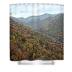 Through The Mountains Shower Curtain
