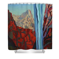 Shower Curtain featuring the painting Through The Narrows, Zion by Erin Fickert-Rowland