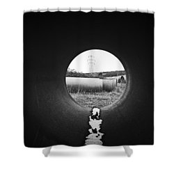 Through The Pipe Shower Curtain by Keith Elliott