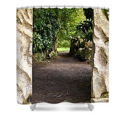 Through The Stone Wall Shower Curtain by Rae Tucker
