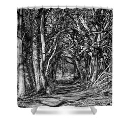 Through The Tunnel Bw 16x20 Shower Curtain