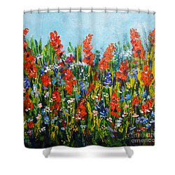 Through The Wild Flowers Shower Curtain