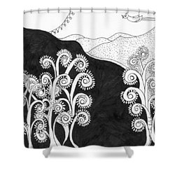 Through The Woods Shower Curtain by Lou Belcher