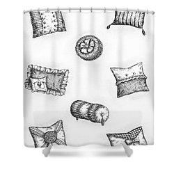 Throw Pillows Shower Curtain by Adam Zebediah Joseph
