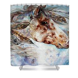 Thunder Appaloosa Indian War Horse Shower Curtain by Marcia Baldwin